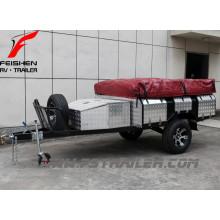 Vente chaude!!! 7ftx4ft large de remorques routières de camping-car SF74T entièrement soudé avec caravane tente