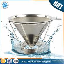 Filtro de café de aço inoxidável reutilizável de papel de qualidade alimentar / gotejador de café
