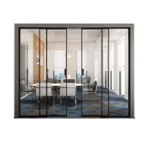 Puertas corredizas de vidrio con marco de aluminio estrecho de dos rieles