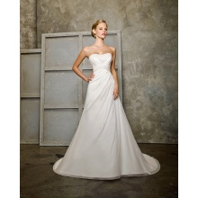 Empire A-line Scoop Neck Cathedral Train Chiffon Ruffled Wedding Dress