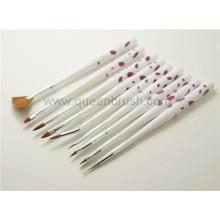 Beauty Cosmetics 9PCS Plastic Handle Nail Arts Makeup Brush Set