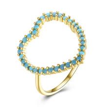 Heart Shape Kallaite Stone Material Gold Plated Girl Rings