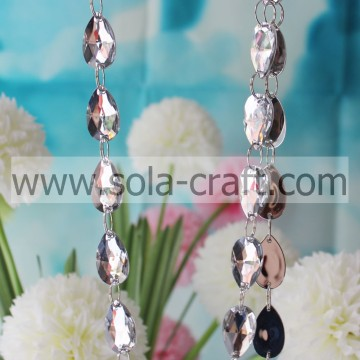 17 * 28mm bianco Shinny Cut Diamond Beads Garland Teardrop Beaded Curtain per prisma lampadario