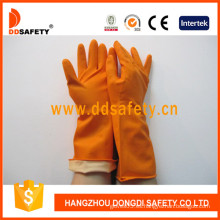 Guantes de látex naranja para el hogar con manguito enrollado / moldeado (DHL302)