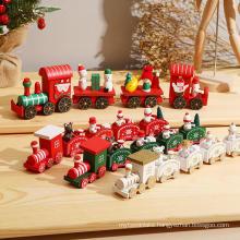 Merry Christmas Wooden Train Ornament Christmas Decoration For Home Santa Claus Gift Natal Navidad Noel 2022 New Year Xmas Decor