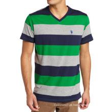 T-shirt Outwear de algodão personalizado Stripe CVC Men