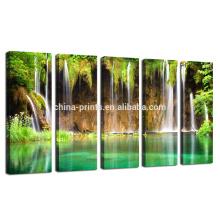Arte de la pared de la lona del tamaño grande, paisaje de la pared del paisaje de la montaña, impresión de la lona de la cascada del verde para la decoración de la sala de estar