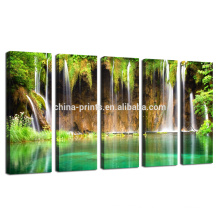 Large Size Canvas Wall Art,mountain Scenery Wall Picture,green Waterfall Canvas Print for Living Room Decoration