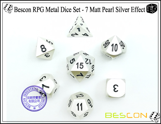 Bescon RPG Metal Dice Set - 7 Matt Pearl Silver Effect