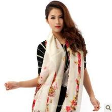 2014 new Ladies' hand printed flower diamond-structure 100% cashmere shawl manufacturer