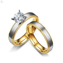 Amants d'acier inoxydable bon marché simple de mode matent les anneaux nuptiaux de mariage de zircon