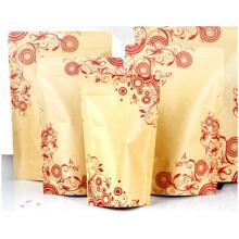 Printed Fiower Kraft Paper Valve Bag, Compound Aluminum Self-Reliance Bag
