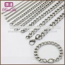 Venta al por mayor Charm moda hombres de acero inoxidable 8mm Curb Link cadena collar joyas