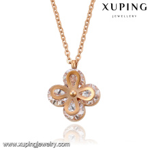 Necklace-00064 Fashion Elegant Rose Gold-Plated CZ Diamond Stainless Steel Jewelry Pendant Necklace