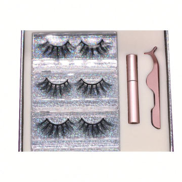 D628H Hitomi Wispy Mink Lashes Custom Mink Lashes Box Fluffy 25mm Magnetic Eyelashes with Eyeliner and tweezers