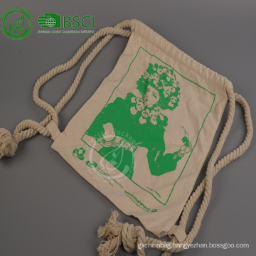 Reusable custom cotton drawstring backpack with logo