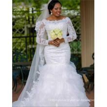 Vestido de casamento de trompete branco feito sob encomenda feito na China para mulheres africanas