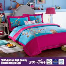 Juego de cama de dibujos animados de niños lindos de venta caliente 100% algodón