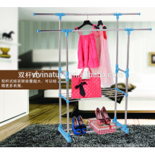 multi color clothes garment drying hanger rack and Large Capacity Rack with 3 Levels and Bar for Sheets