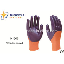 Polyester Shell Nitrile Coated Safety Work Gloves (N1502)