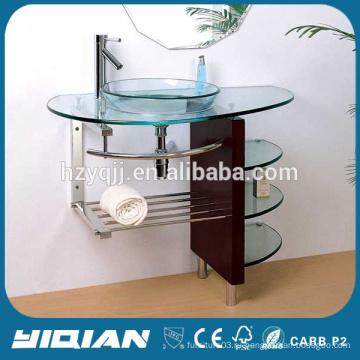 Горячая продажа древесины Поддержка Vanity Basin Современная закаленная стеклянная умывальная раковина