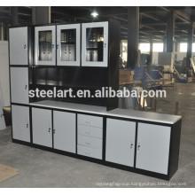 Glass window design stainless steel kitchen cabinet