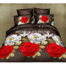 Microfiber Tecido Têxtil 3D Red Rose Bedding Conjunto e Conjunto de Folha de Cama China