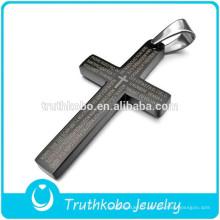 Nouvelle Arrivée De Style De Mode Prière De Seigneur Bible Croix Pendentif En Acier Inoxydable Collier En Gros