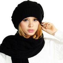(LKN15029) Chapeaux de Bonnette en Tricot Promotionnels d'hiver avec écharpe