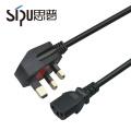 SIPU brin cuivre broche ronde fiche ac uk 3 câble d'alimentation de base pour PC