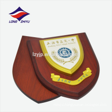 Simple patterns yellow color logo wooden award plaque