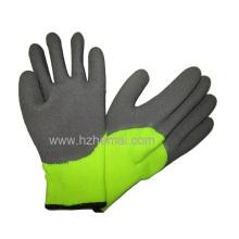 Gants de latex à mi-trempette thermique Gant de travail de sécurité jaune fluorescent