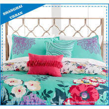 Green Floral Design Printed Polyester Duvet Cover Bedding