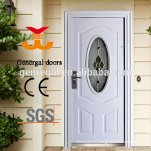 European style classic oval glass front white color wood door