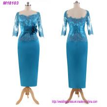 Elegantes Türkis Appliques Mutter der Braut Kleid Spitze Drei Viertel Ärmel bodenlangen langes formales Abendkleid