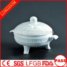 2014 cuenco de sopa de cerámica de la porcelana del modelo caliente del dragón del restaurante del hotel de la venta con la tapa