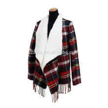 Moda senhoras inverno cordeiros lã poncho casacos