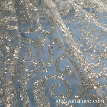 Vantage Grey Sequin Embroidery Tulle Lace