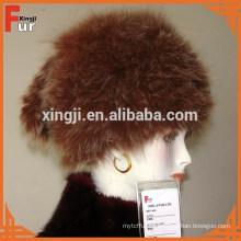 Sombrero de piel de zorro tejido para mujer