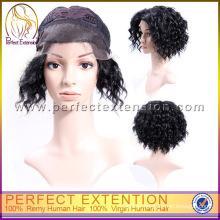 2014 Ladies Favorite Black Indian Remy Short Front Lace Wigs
