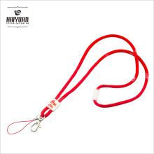 Llavero de cordón redondo grueso de 5mm con logotipo tejido blanco y clip blanco