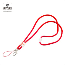 5mm Thick Round Cord Lanyard with White Woven Logo and White Clip