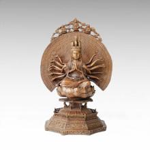 Buddha-Statue Avalokitesvara Die Tausend-Hand-Bodhisattva-Bronze-Skulptur Tpfx-082