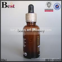 1 унция янтарные стеклянные бутылки масла сыворотка с золотым воротником и черные капельницы, свободно образец, обслуживание OEM печатание, оптом парфюмерные масла 2015