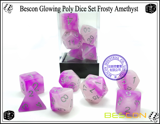 Bescon Glowing Poly Dice Set Frosty Amethyst-5