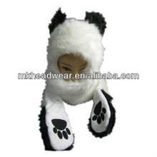 animal faux fur plush bear hooded hat