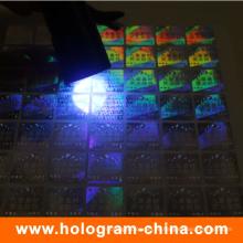 Etiqueta engomada invisible del holograma de la seguridad del logotipo ultravioleta