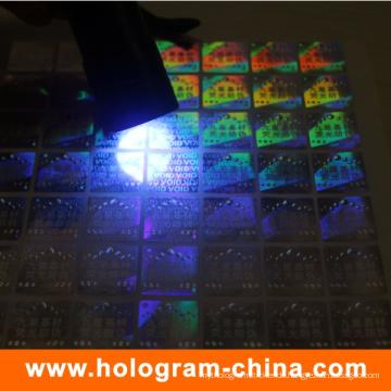 UV unsichtbarer Logo-Sicherheits-Hologramm-Aufkleber