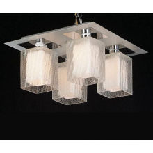 Modern Ceiling Lights White Glass Shade Inside and Transparent Glass Outside (MX8105-4W)