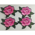 Patch Design Rose Broderie Fer Sur Jeans